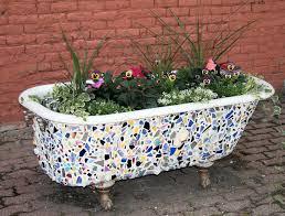 mosaic bathtub planter