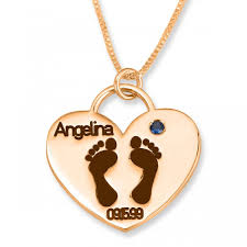 24k rose gold plated double thickness baby footprints mom heart name necklace with date birthstone mothers jewelry name factory namefactory