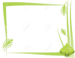 Green Leaf And Abstract Frame Design On A White Background Stock
