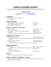 Academic Resume Template Resume For Study