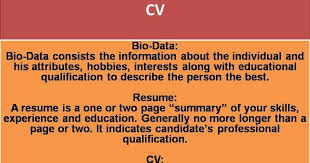 Bio Data Vs Resume Vs Cv Useful One