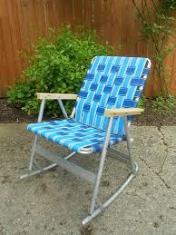 vintage webbed tubular aluminum rocker rocking lawn chair patio 1 of 2 folding