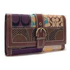 Coach Holiday Buckle In Signature Large Coffee Wallets BRX