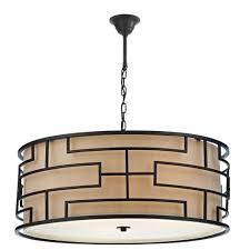 the lighting book tumola 4lt geometric pattern matt bronze ceiling pendant with taupe linen inner shade