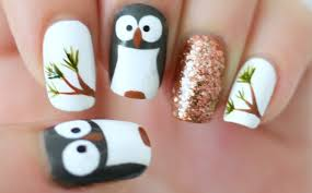 Nails design owl Beautify themselves with sweet nails