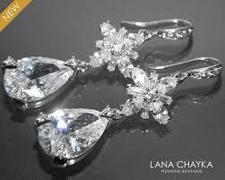 cubic zirconia earrings chandelier crystal bridal earrings cz dangle earrings cz bridal jewelry vintage style earrings prom cz earrings 37 50 usd