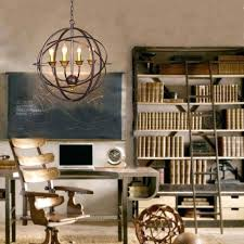 industrial 4 light metal orb chandelier for traditional home office lighting decor large fabulous interior metal orb