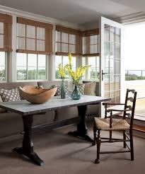 Dining Room:Breakfast Nook Decorating Idea With Rustic Table And Bamboo  Window Blinds Astonishing Breakfast