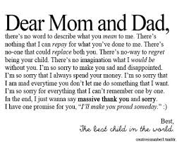 Beautiful Quotes For Mom And Dad Best of Dear Girl Quotes Dear Mom And Dad Sorry Child Thanks Quotes