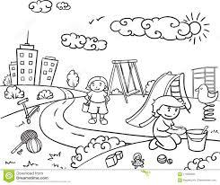 Concetto Allaperto Attivo Di Ricreazione Dei Bambini Di Schizzo