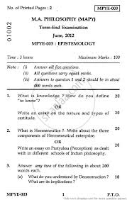 epistemology social work philosophy ma university  epistemology 2012 social work philosophy ma university exam indira gandhi national