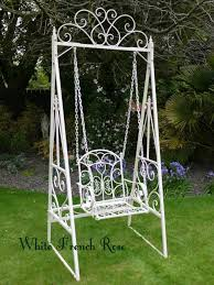 white iron patio furniture. swing garden furniture swinging bench hammock seat outdoor white new iron patio