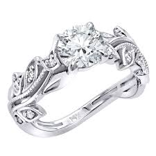 Flower Design Diamond Ring 14k Gold Unique Floral Design Diamond Engagement Ring 1 1ctw G H Color By Luxurman