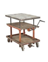 original vintage american industrial fully adjule mobile salvaged chicago cart or hand crank table