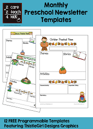 Preschool Newsletter Template Custom Preschool Monthly Newsletter Template Studiojpilates