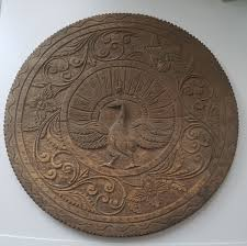 vintage hand carved wooden wall art plaque 15 inches 1 of 2 see more