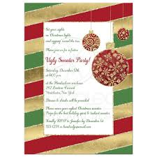 Holiday Party Invitation Red White Green Candy Cane Stripes