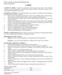 Cashier Resume Description Musiccityspiritsandcocktail Com