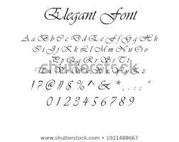 Letters By Number Elegant Font Elegant Cursive Letters Numbers Stock Vector Royalty