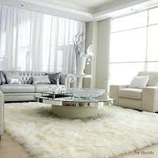 white carpet living room plush faux fur gy soft sheepskin pelt rug rectangle with natural white carpet