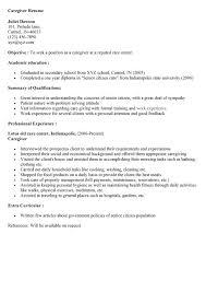 sample caregiver objectives resume templates sample resume caregiver