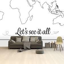 Bolcom Wereldkaart Zwart Wit Spreuk Tekst Behang 265x350 Cm