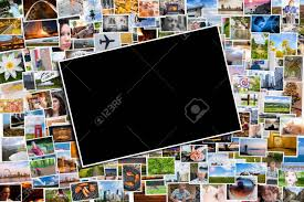 Postcard Collage Template Postcard Or Photo Template With A Background Of Photos And Postcards
