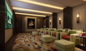 Interior:Amazing Home Theater Room With Two Level Seating Complete With  Mounted Screen Unit Small