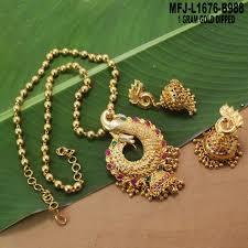 1 gram gold dipped ruby emerald stones lakshmi peacock design with pearls pendant set