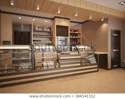 3 D Illustration Modern Bakery Interior Stock Illustration 384541312