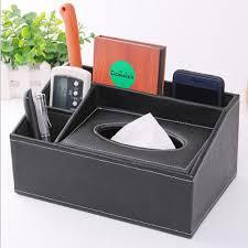 europe desk accessories leather wooden organizer box tissue holder pen box