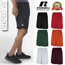 Details About Russell Athletic Mens Gym Jogging 100 Polyester Mesh Shorts With Pockets 651afm