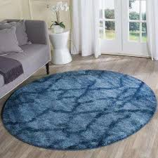 retro blue dark blue 6 ft x 6 ft round area rug