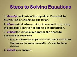 4 steps to solving equations