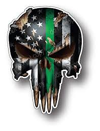 Decal is sized by the longest dimension. 4 Pack Of Small Thin Green Line Punisher Skulls I Support The Military Vinyl Decal Sticker American Flag Car Truck Amazon In Car Motorbike