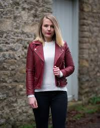red burdy leather jacket outfit