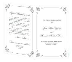 One Sided Wedding Program Template Sample Wedding Ceremony Program