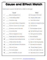 Casue And Effect Cause And Effect Worksheets