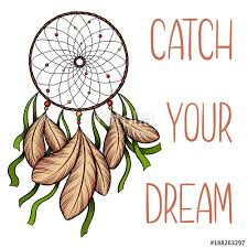 Dream Catcher Saying Beauteous Hand Drawn Vector Dreamcatcher With Green Ribbons And Catch Your
