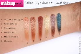 makeup geek foiled eyeshadows in the spotlight grandstand showtime magic act mesmerized houdini swatches