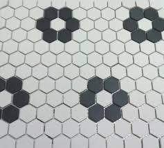 Mosaic Bathroom Floor Tile Unglazed Flower Hexagon Mosaic With Four Roses Bathrooms