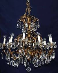 large brass and glass antique chandelier