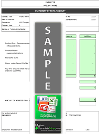 account statement templates construction final account template