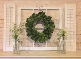 Decorate With Old Windows Old Window Frame Shutters Magnolia Wreath Farmhouse Decor