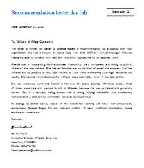 letter for job recommendation job recommendation letter sample letterformats net