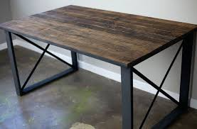 reclaimed wood and metal furniture. modern metal furniture legs rectangular reclaimed wood desk with square base table lamp and r