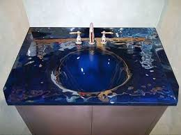 custom glass bath vanity top with integrated sink