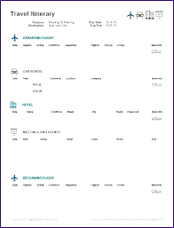 Word Travel Itinerary Template Business Trip Itinerary Template Sidered Info