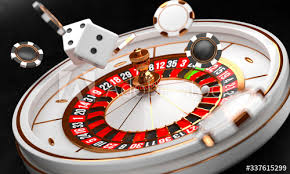 Casino Background Luxury Casino Roulette Wheel On Black Background Online Casino  Theme Close Up White Casino Roulette With A Ball, Chips And Dice Poker Game  Table 3d Rendering Illustration Wall Mural-Yury