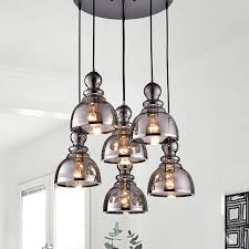 alita antique black 6 light smoked bubble glass chrome edge pendant cer fd 2664
